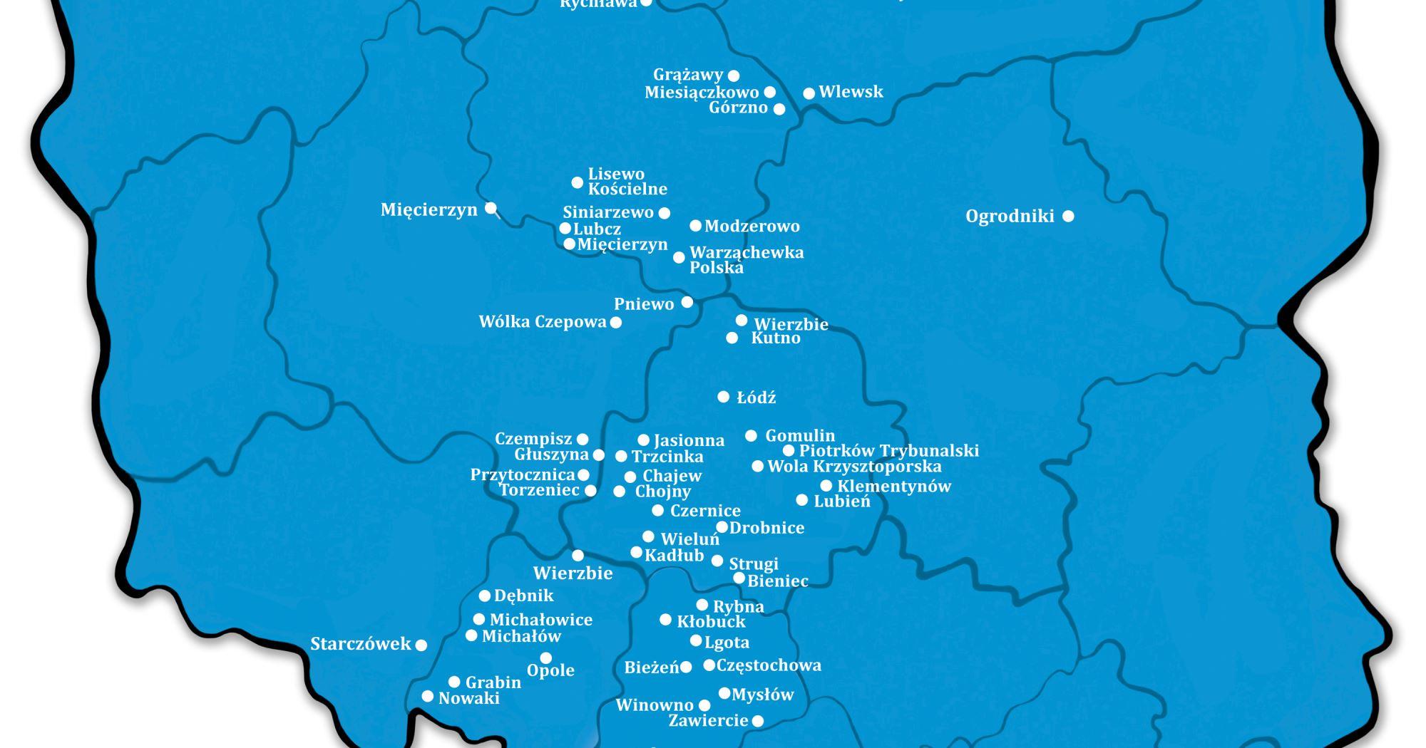 Placówki prawie w całej Polsce